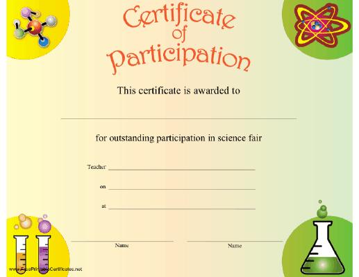Science Participation Certificate Printable Certificate pertaining to Unique Science Fair Certificate Templates