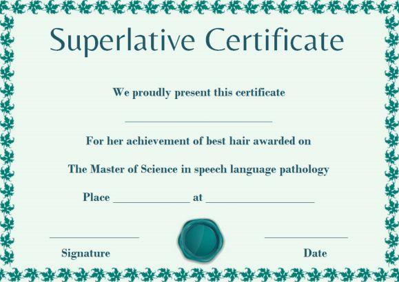 Senior Superlative Certificate Template | Certificate in Superlative Certificate Template