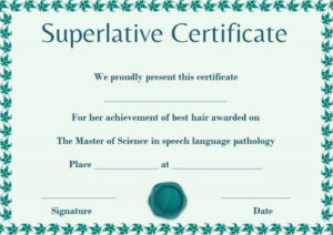 Senior Superlative Certificate Template | Certificate intended for Science Achievement Certificate Template Ideas