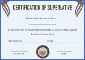 Senior Superlative Certificate Templates | Certificate intended for Best Superlative Certificate Templates