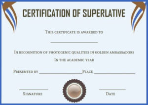 Senior Superlative Certificate Templates | Certificate with Best Superlative Certificate Template