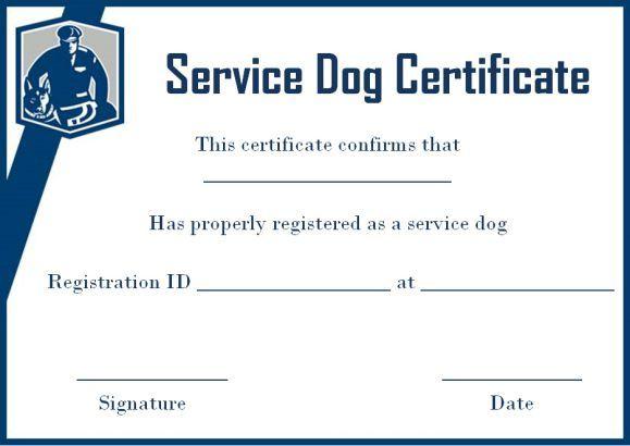 Service Dog Certificate Template Free | Service Dogs within Service Dog Certificate Template