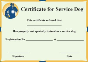 Service Dog Certificate Templates Free | Certificate with Dog Training Certificate Template Free 10 Best