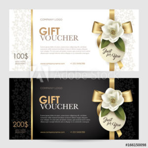 Set Of Luxury Gift Voucher With A Gold Bow, Ribbon And inside Unique Beauty Salon Gift Certificate
