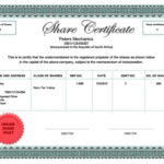 Share Certificate South Africa Throughout Shareholding Certificate Template