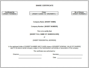 Share Certificate Template Australia (7) – Templates Example pertaining to Fresh Share Certificate Template Australia