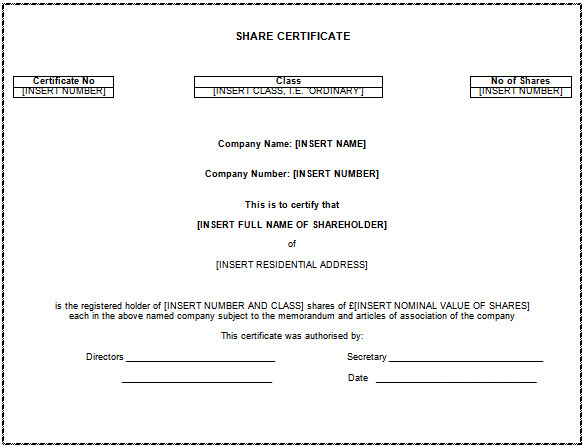 Share Certificate Template Australia (7) - Templates Example pertaining to Fresh Share Certificate Template Australia