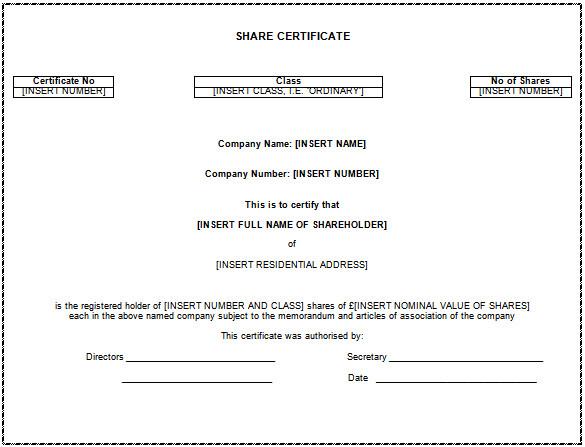 Share Certificate Template Australia (7) - Templates Example pertaining to Fresh Share Certificate Template Australia