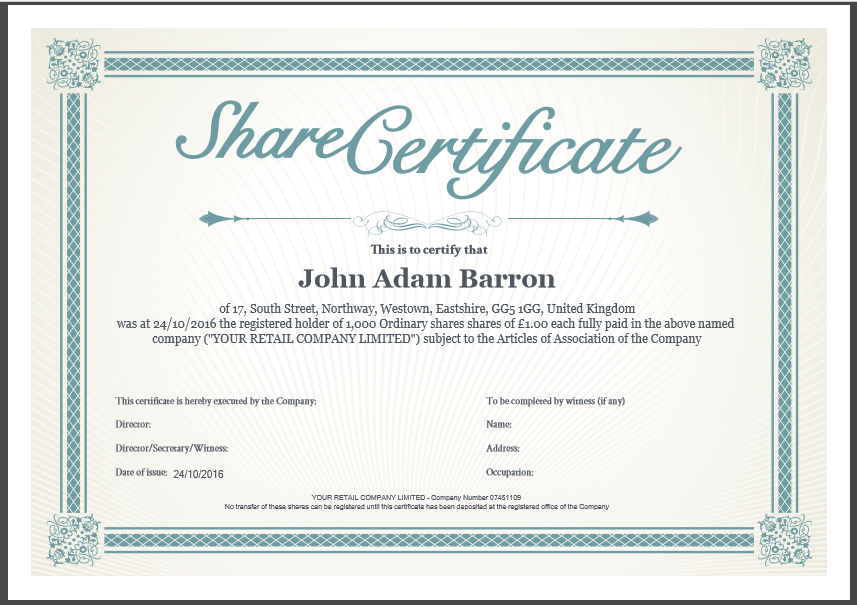 Share Certificate Template Companies House (1) - Templates throughout Share Certificate Template Companies House