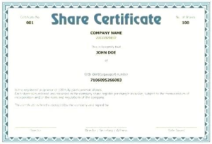 Share Certificate Template Companies House (7) – Templates With Regard To Share Certificate Template Companies House
