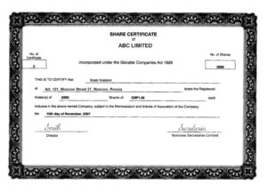 Share Certificate Template Companies House | Certificate intended for Share Certificate Template Companies House