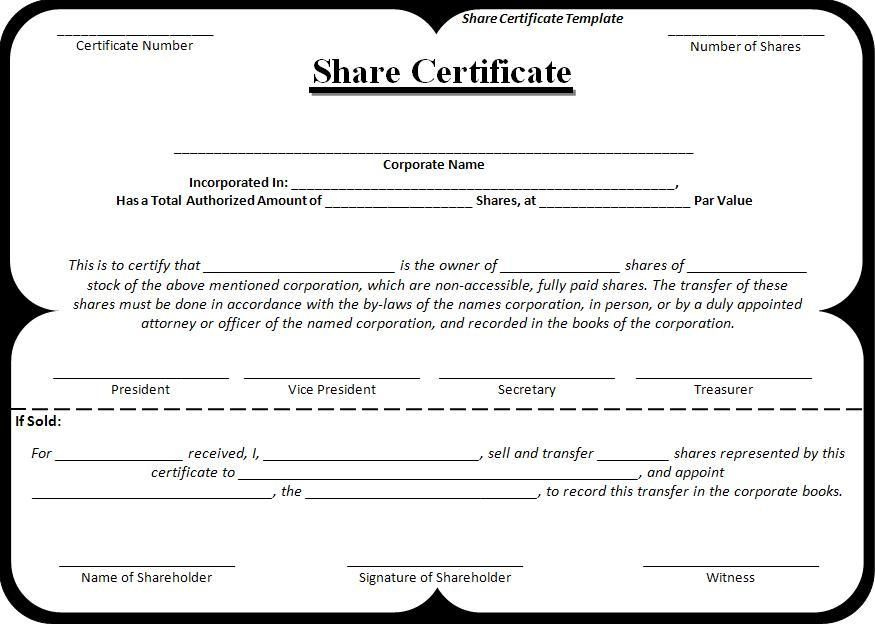Share-Certificate-Template | Stock Certificates, Certificate intended for Unique Shareholding Certificate Template