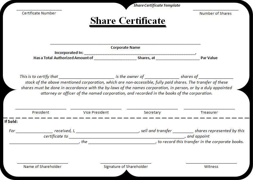 Share-Certificate-Template | Stock Certificates, Certificate regarding Corporate Share Certificate Template