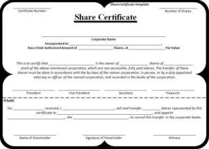 Share-Certificate-Template   Stock Certificates, Certificate regarding Fresh Share Certificate Template Australia
