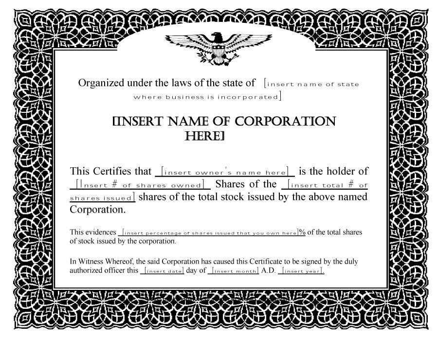 Share Certificate Templates | Certificate Template Downloads for Unique Share Certificate Template Pdf