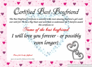 Show Your Boyfriend How Much You Adore Him With A Certified pertaining to Quality Best Girlfriend Certificate 10 Love Templates