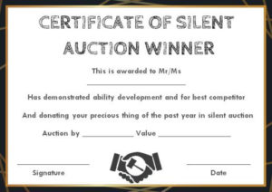 Silent Auction Winner Certificate Template: Explore Best Throughout Best Silent Auction Certificate Template 10 Designs 2019