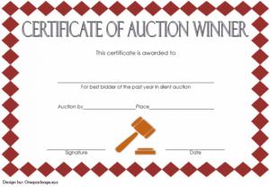 Silent Auction Winner Certificate Template Free 3 pertaining to Silent Auction Certificate Template 10 Designs 2019