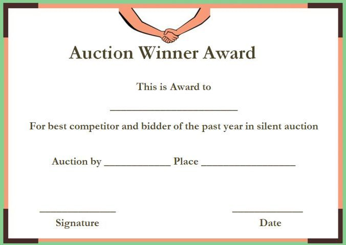 Silent Auction Winner Certificate Templates | Certificate for Donation Certificate Template Free 14 Awards