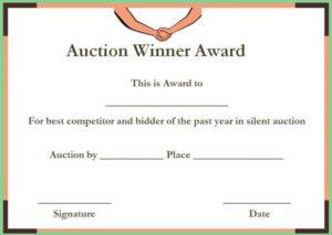 Silent Auction Winner Certificate Templates | Certificate inside New Winner Certificate Template