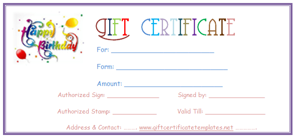 Simple Balloons Birthday Gift Certificate Template | Gift within Fresh Happy New Year Certificate Template Free 2019 Ideas