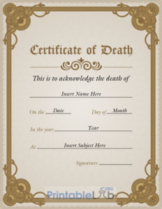 Simple Vertical Death Certificate Template In Potters Clay with regard to Quality Death Certificate Template