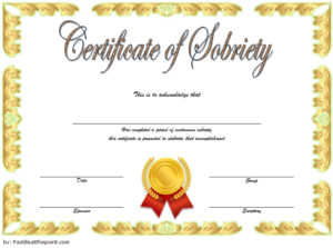 Sobriety Certificate Template Idea 7 | Certificate Templates with regard to Best Certificate Of Sobriety Template Free