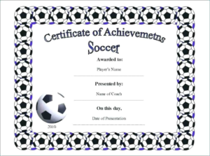 Soccer Award Certificate Template (2) – Templates Example within New Soccer Achievement Certificate Template