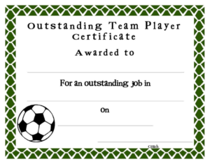 Soccer Award Certificate Template | Soccer Awards, Award for Quality Soccer Award Certificate Template
