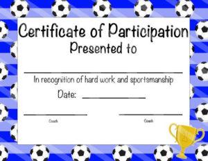 Soccer Certificate Of Participation Soccer Award Print At regarding Best Soccer Mvp Certificate Template