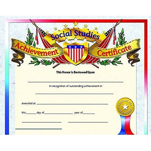 Social Studies Achievement Certificate (Set Of 30) | Social with Social Studies Certificate Templates