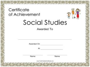 Social Studies Achievement Certificate Template Download pertaining to Social Studies Certificate