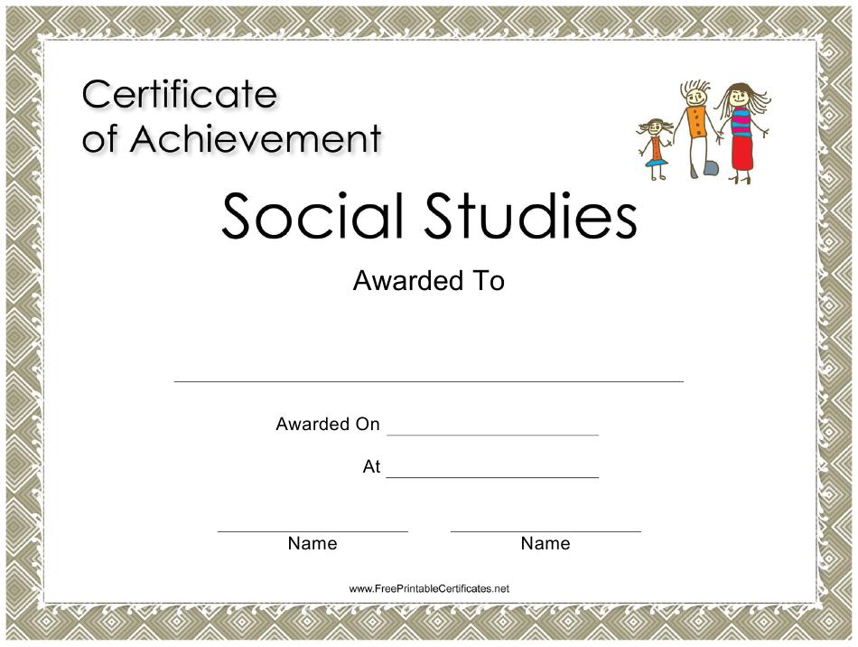 Social Studies Achievement Certificate Template Download throughout Social Studies Certificate Templates