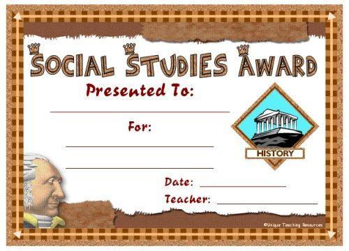 Social Studies Award Certificates | Social Studies Awards for New Editable Certificate Social Studies