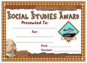 Social Studies Award Certificates   Social Studies Awards regarding Social Studies Certificate