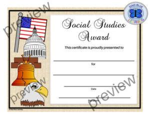 Social Studies Certificate, End Of Year Certificates, Pdf Social Studies  Certificate, Editable Social Studies Certificate, School Award intended for Fresh Social Studies Certificate
