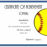 Softball Certificate Templates Free   Softball Awards Regarding Softball Certificate Templates Free