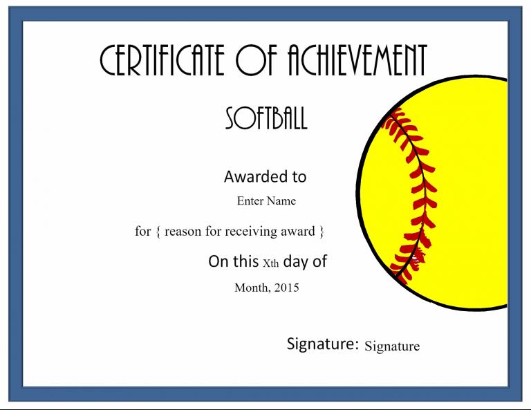 Softball Certificate Templates Free | Softball Awards regarding Softball Certificate Templates Free