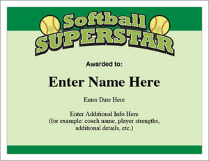 Softball Superstar Certificate – Award Template | Fastpitch in Unique Free Softball Certificate Templates