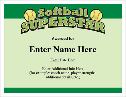 Softball Superstar Certificate - Award Template | Fastpitch intended for Fresh Printable Softball Certificate Templates