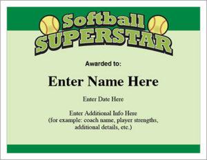 Softball Superstar Certificate – Award Template | Fastpitch regarding Softball Award Certificate Template