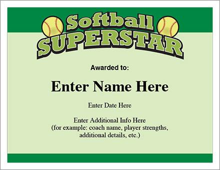 Softball Superstar Certificate - Award Template | Fastpitch regarding Softball Award Certificate Template