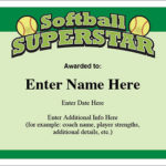 Softball Superstar Certificate – Award Template | Fastpitch Throughout Softball Certificate Templates