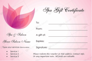 Spa Gift Certificate Template (22+ Editable & Printable Designs) with regard to New Free Spa Gift Certificate Templates For Word
