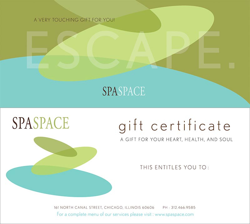 Spa Gift Certificates - Chicago Massage & Spa   Spa Space pertaining to Spa Gift Certificate