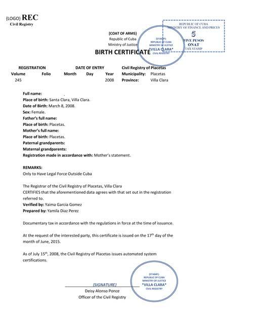 Spanish Birth Certificate Translation - 24 Hour Translation with Mexican Marriage Certificate Translation Template