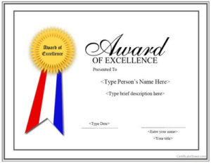Special Certificate – Award For Excellence With Ribbon intended for Award Of Excellence Certificate Template