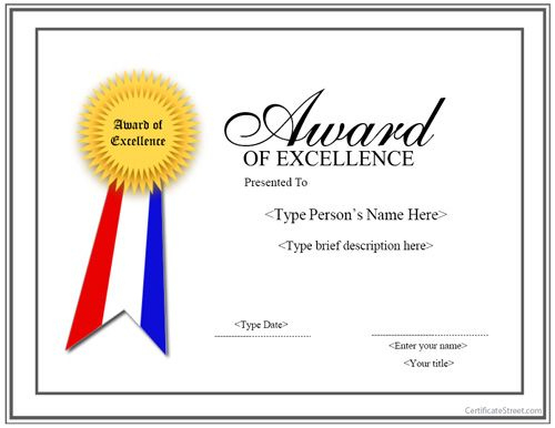 Special Certificate - Award For Excellence With Ribbon intended for Award Of Excellence Certificate Template