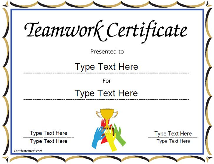 Special Certificate - Team Work Certificate pertaining to Unique Free Teamwork Certificate Templates 10 Team Awards