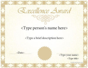 Special Certificates – Award Template For Excellence for Math Certificate Template 7 Excellence Award